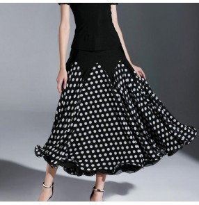 Custom size Polka dot ballroom dance skirts flamenco for women female competition stage performance tango dancing long skirts